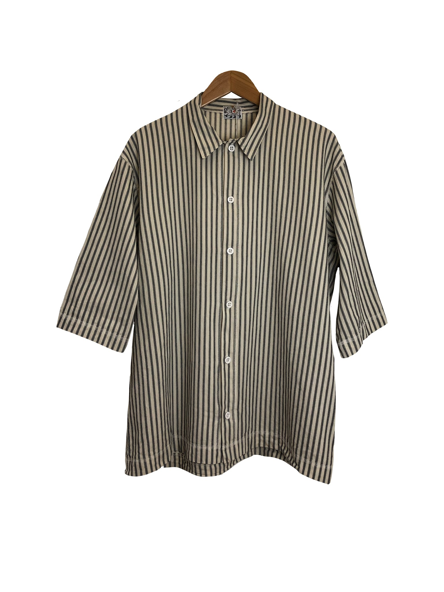 Short Sleeve Weaver's Stock Mattress Stripe Shirt - Black