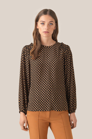 Sirius Long Sleeve Blouse in Black print