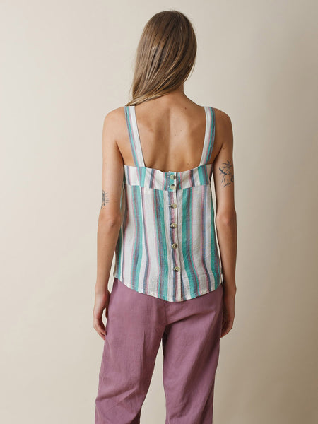 Striped Top With Stripes in Green