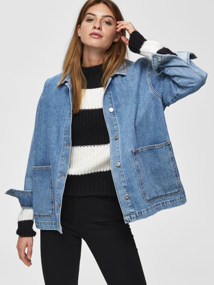 Spencer Loose fit Denim Jacket in Medium Blue