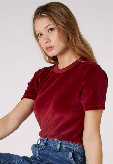 Sultana Fleece T-Shirt in Cordovan