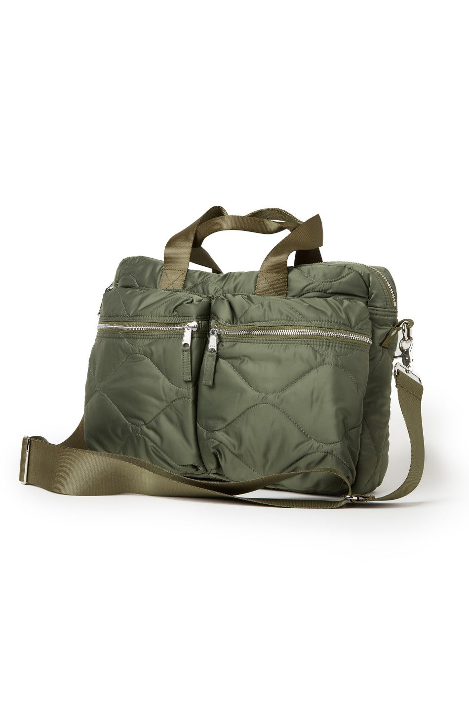 Quilted Laptop Bag in Olive
