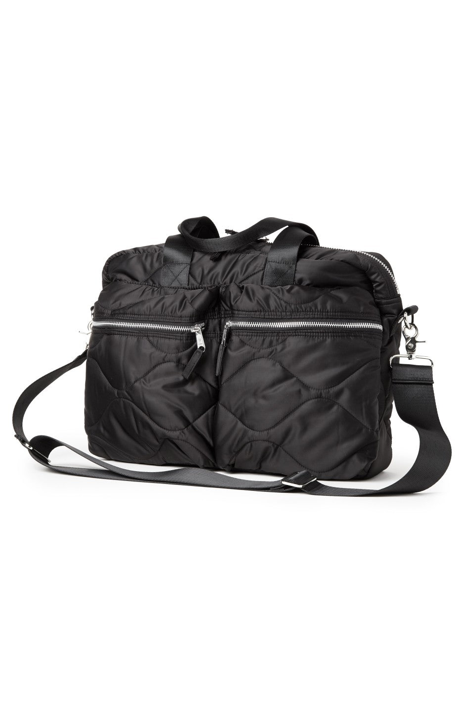 Quilted Laptop Bag in Black