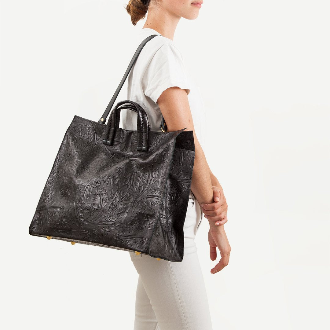 Floral Tooled Leather Tote in Black