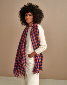 Sordi Scarf in Pink and Navy Plaid