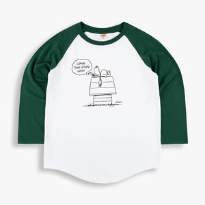 Stupid War Raglan 3/4 Sleeve T-Shirt in White and Green