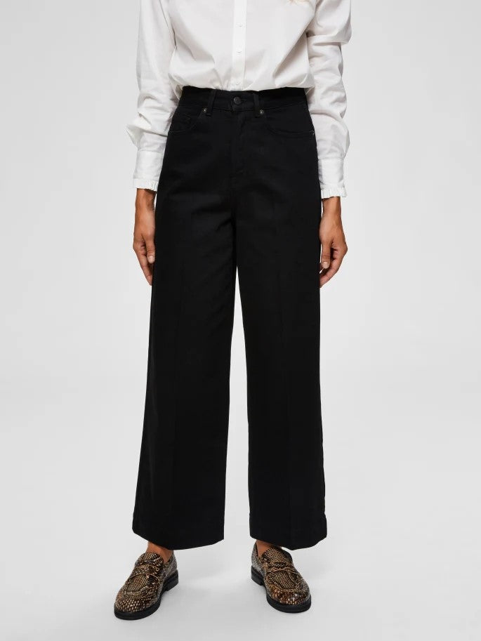 Susan High Waist Cropped Jeans in Black