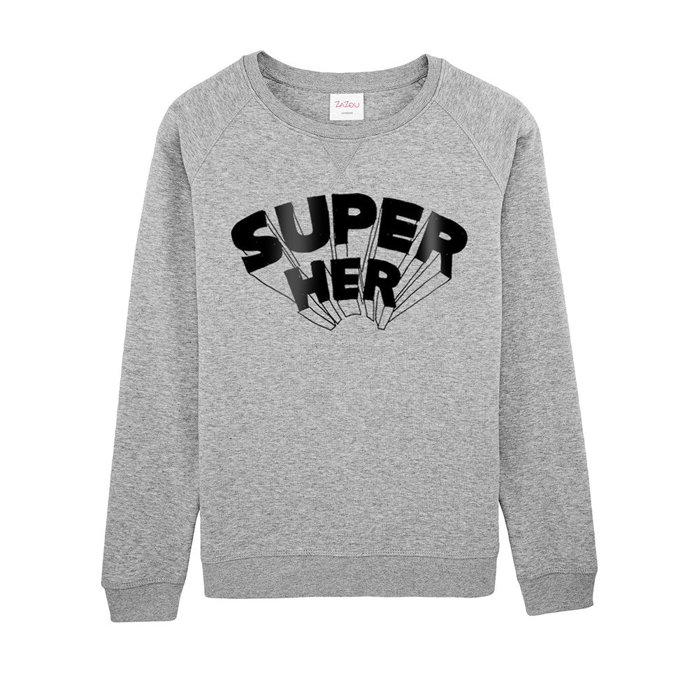 Super Her Sweatshirt in Grey