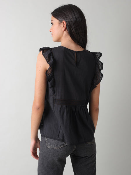 Embroidered Cotton Sleeveless Top in Black.