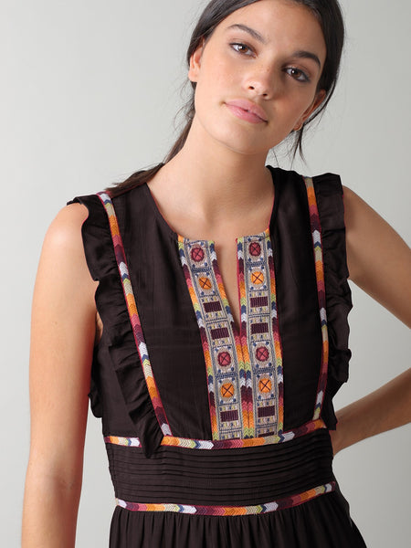 Embroidered Folk Dress in Black