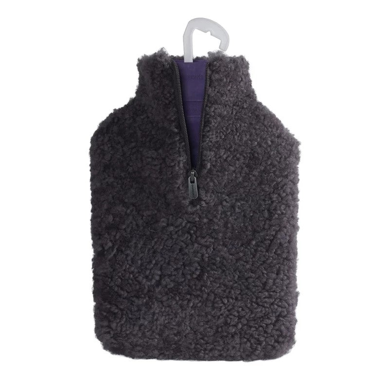 Shepherd Hot Water Bottle Cover in Grey Sheepskin