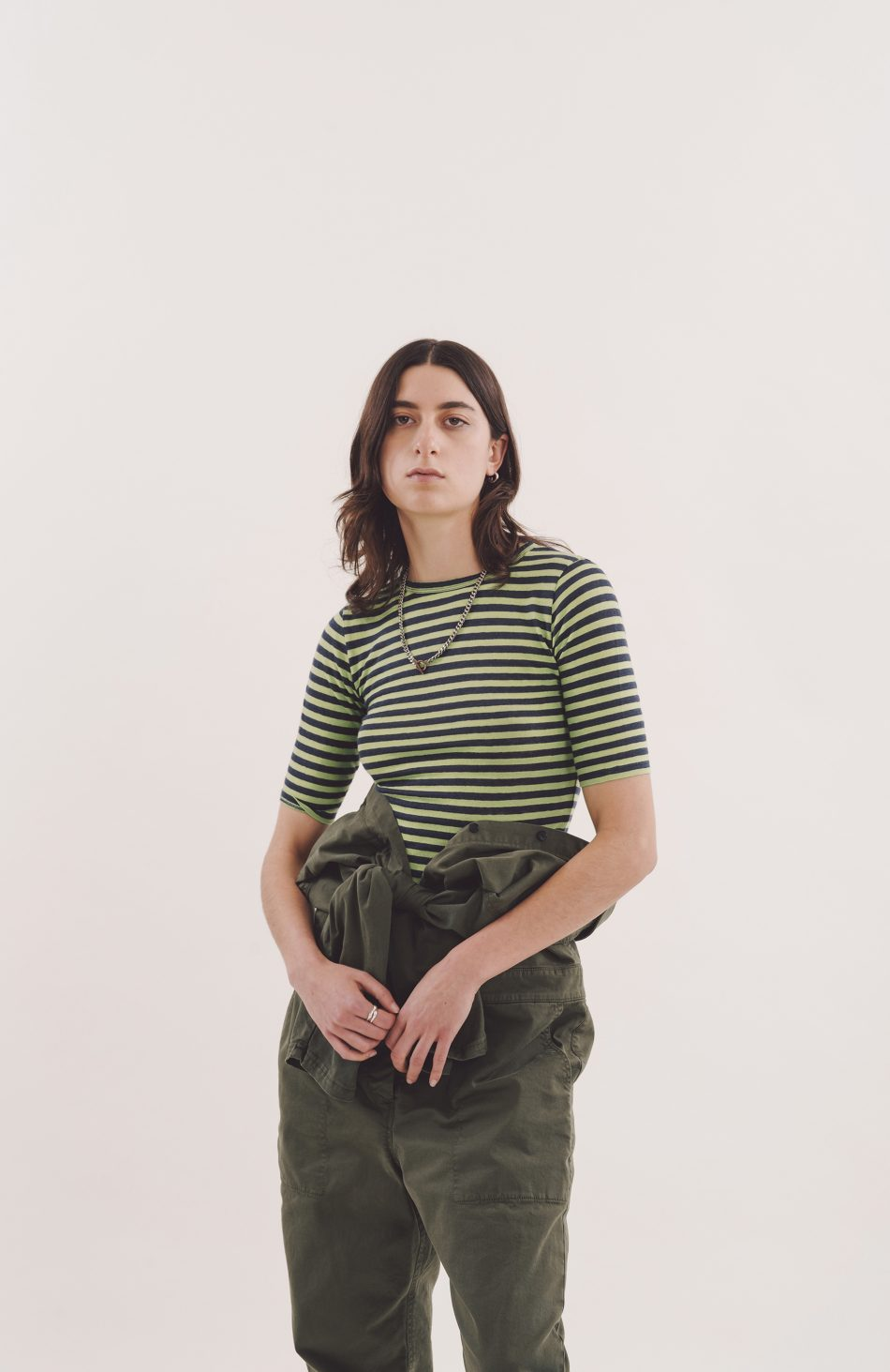 Charlotte Short-Sleeved Tee in Light Green and Navy Stripe