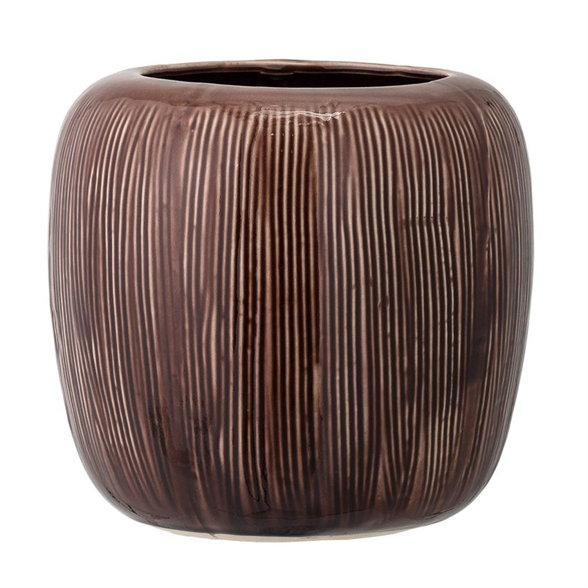 Stoneware Flowerpot in Brown