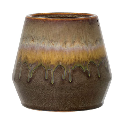Stoneware Flowerpot in Multi-Colour