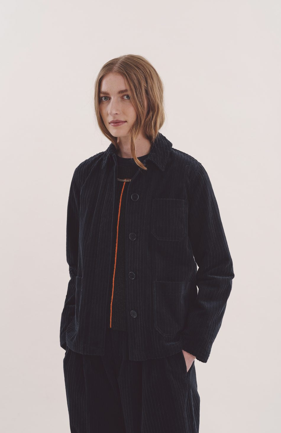 Alma Jacket in Navy Cord