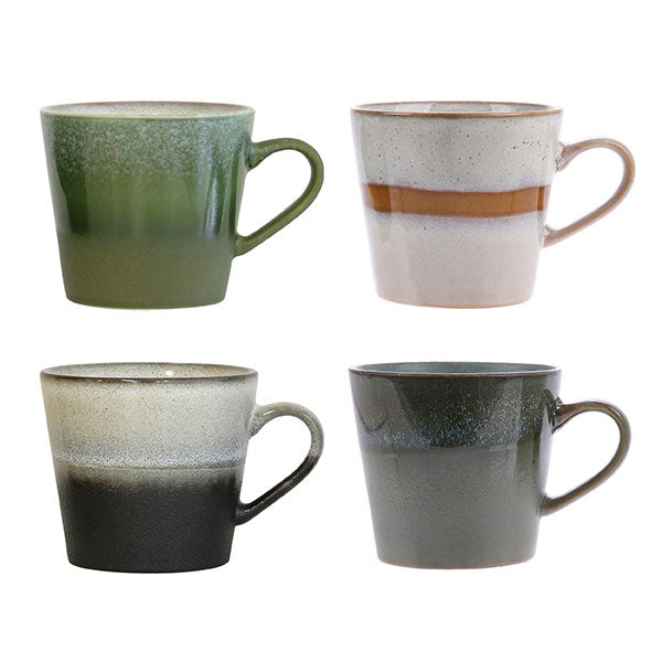 Set of 4 Ceramic 70's Cappuccino Mugs