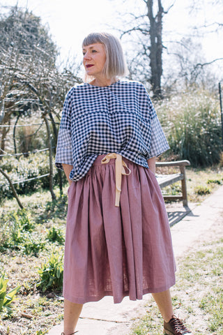 Dale Skirt in Pink Linen