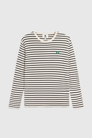 Mel Long Sleeve Stripe T-Shirt - Navy Off-White