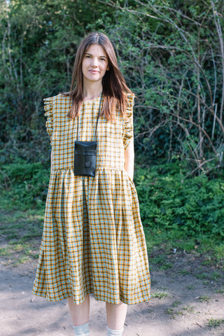 Ducie Dress in Yellow Check Linen