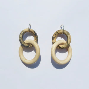 Olympia Earrings in Silver, Maple and Marbled Maple