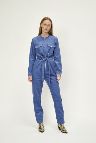 Harlow Cord Jumpsuit in Dutch Blue