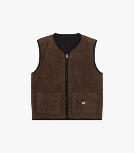 Reverse zip pile Vest in Brown/Black