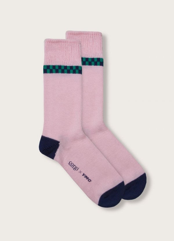 Checkers Stripe Socks in Pink