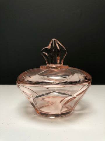 Small Pink Vintage Glass Trinket Box