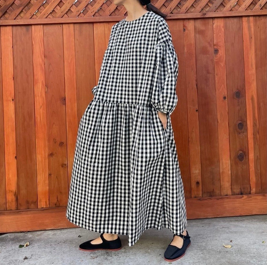 May Dress in Black Gingham