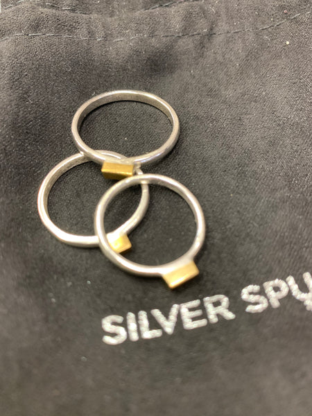 Sterling silver ring with Brass nugget