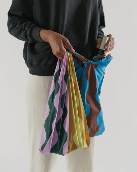 Bottle Bag Set of 3 - Wavy Print