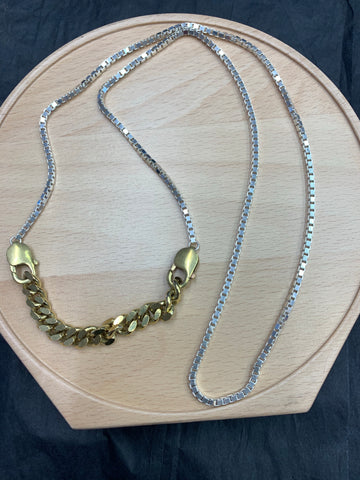 Brass & Sterling silver box chain necklace