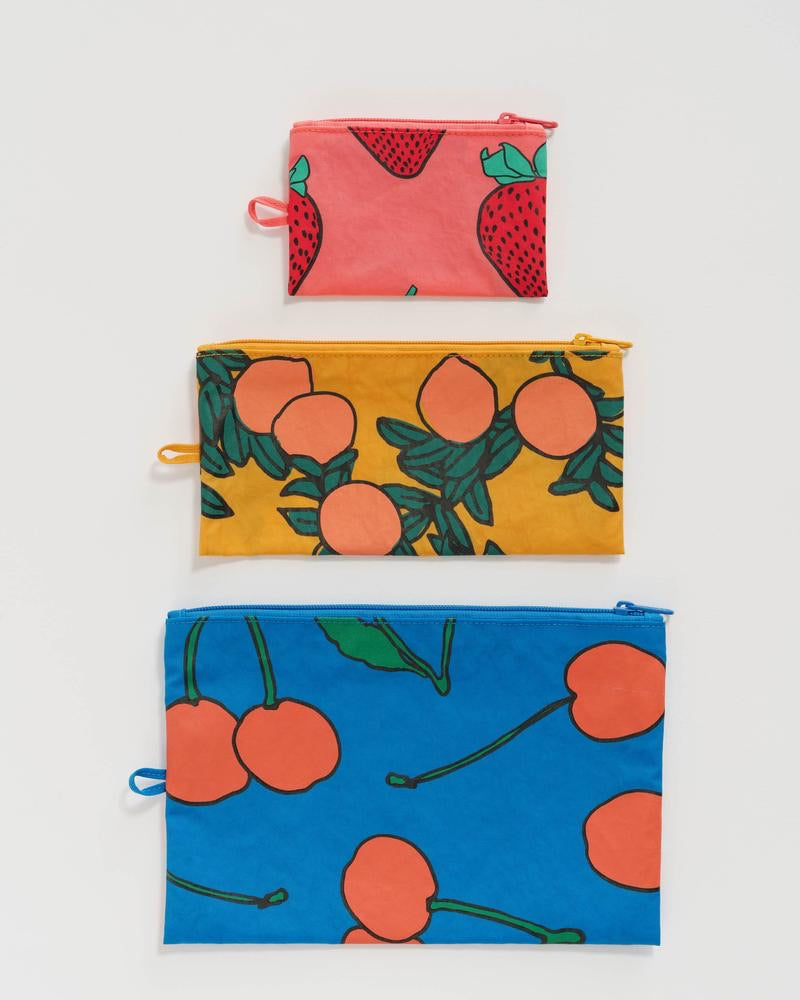 Set of 3 Flat Pouches in Backyard Fruit Print