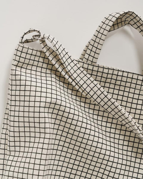 Horizontal Duck Canvas Tote in Natural Grid