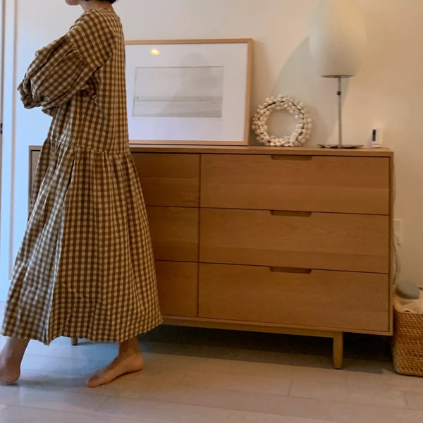 April Meets October May Dress in Camel from NOLA Boutique gingham oversized dress