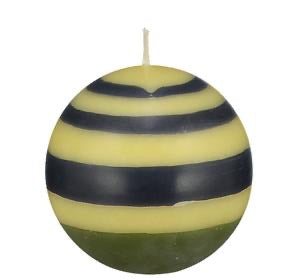 Ball Candle in Olive, indigo and Jasmine Stripes