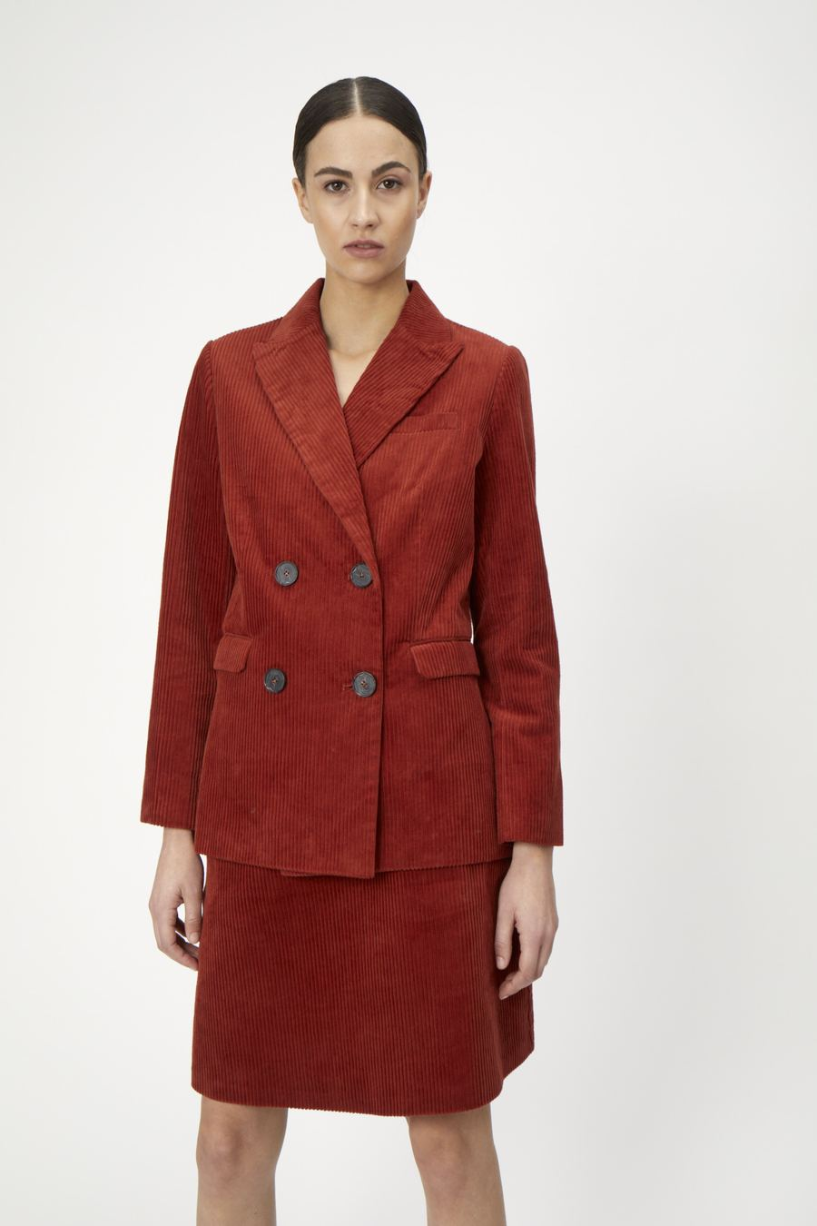 Jane Cord Blazer in Red Ochre
