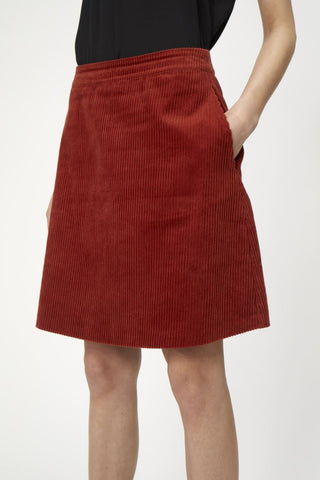 Jane Cord Skirt in Red Ochre