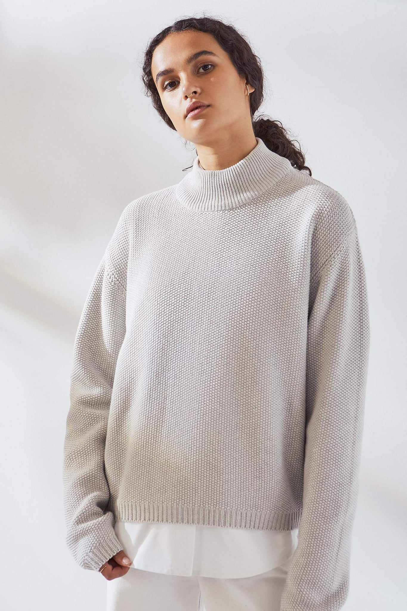 Pace Crew Sweater in Grey Marl