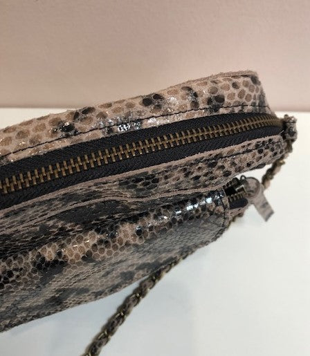Faux Snake Leather Cross Body Bag