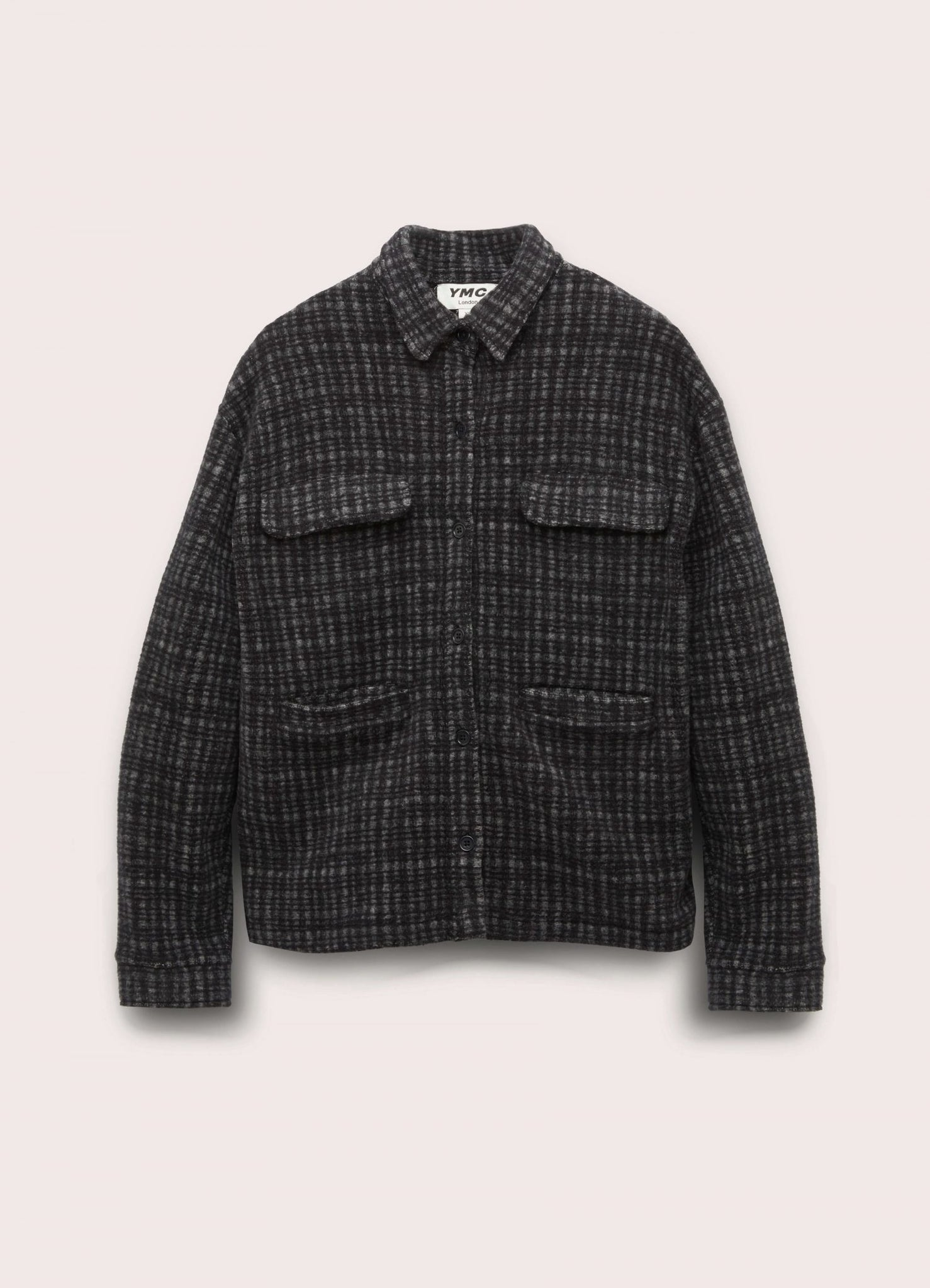 The Pool Cotton Fleece Jacquard Shirt in Black and Grey Check