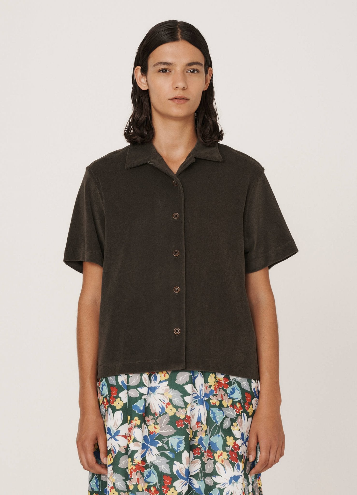 Vegas Shirt in Olive Terry Towelling