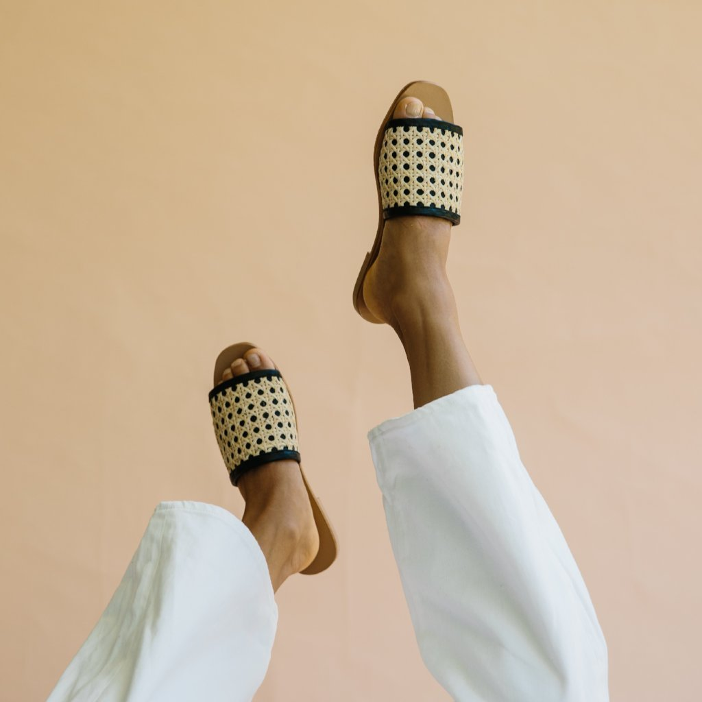 Hennie Rattan Slides in Black