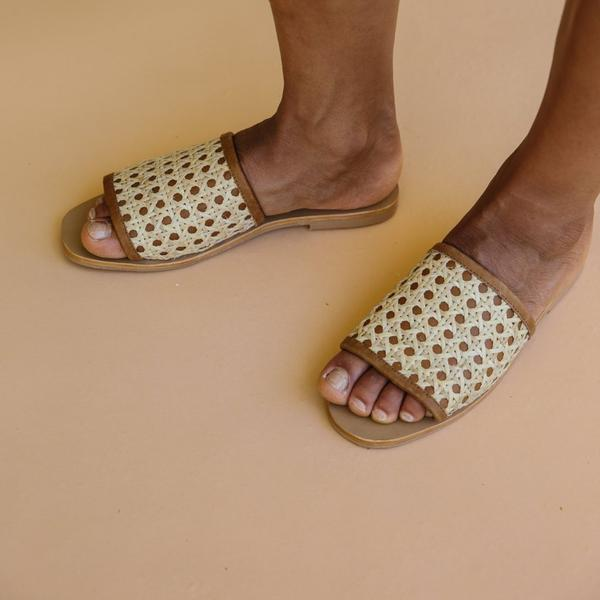 Hennie Rattan Slides in Tan