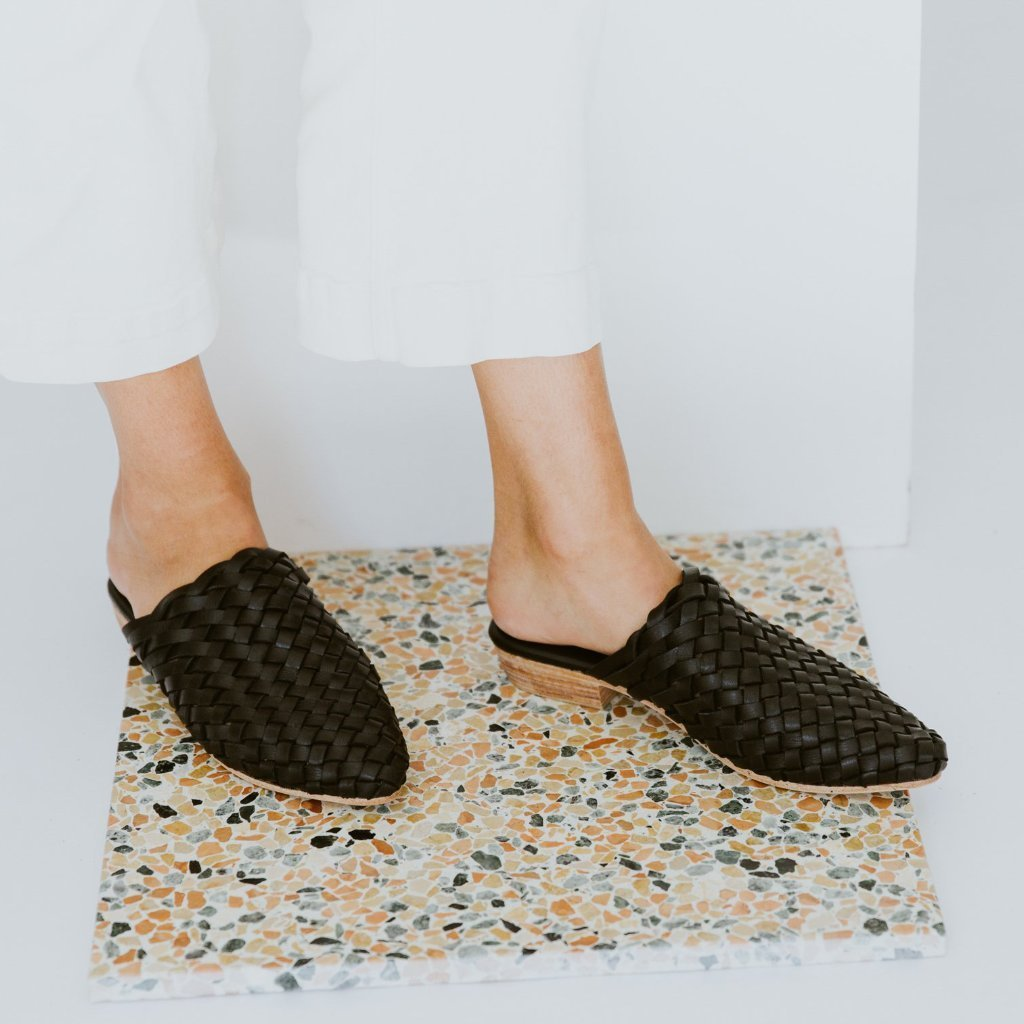 Paris Woven Mules in Black
