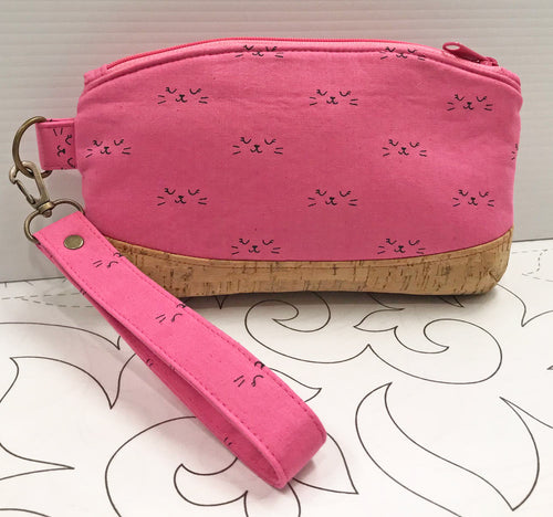 Clematis Wristlet - Pink Cat Faces