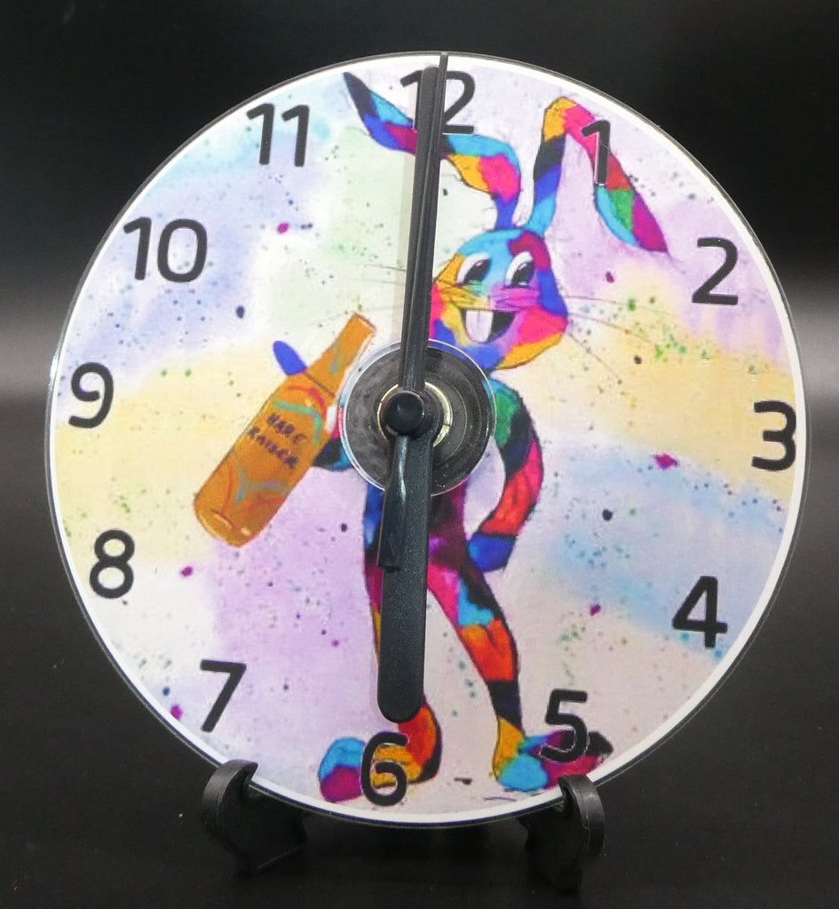 Novelty clock featuring the Image from the painting of The Drunken Hare