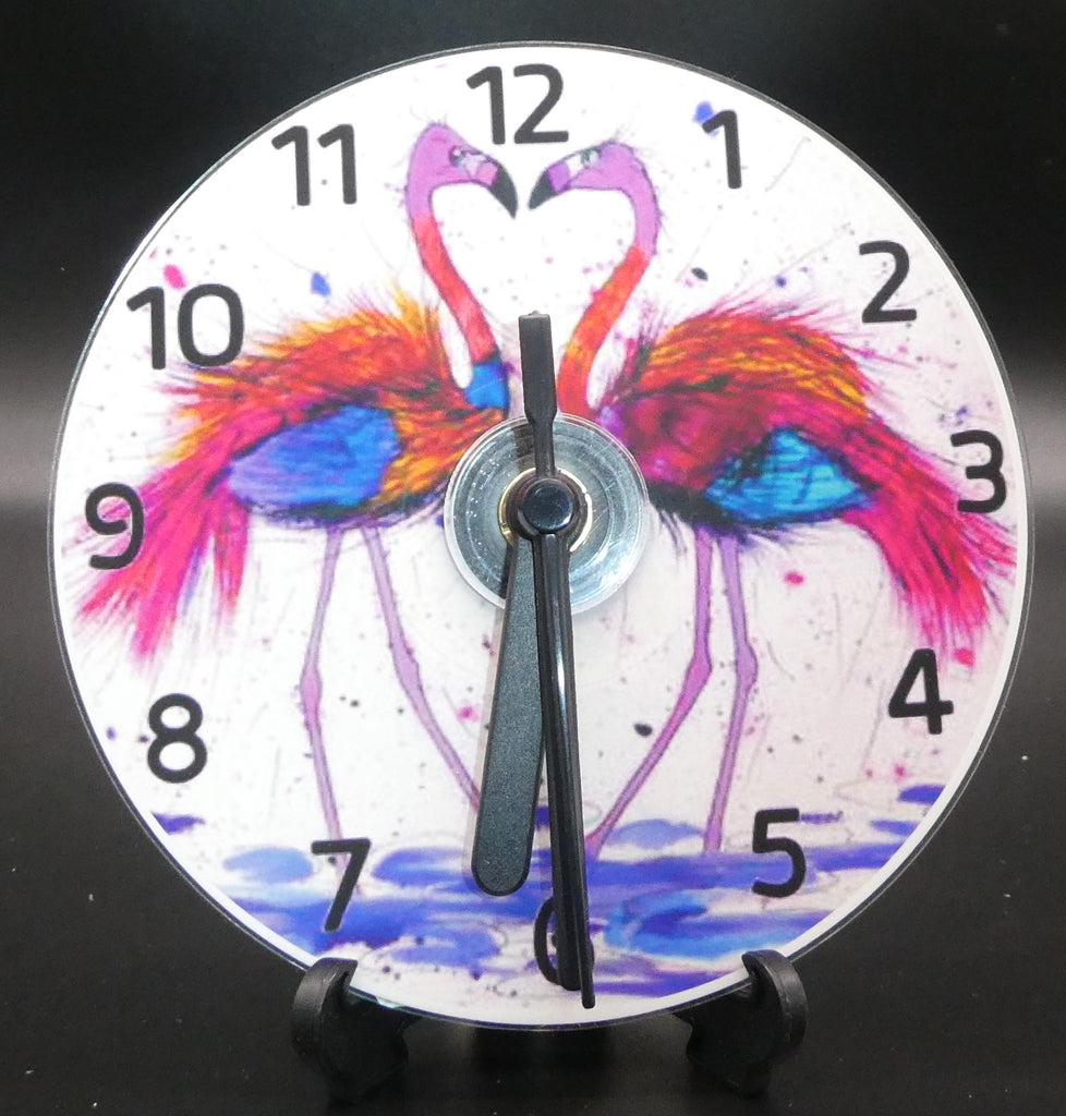 Novelty clock featuring the Image from the painting of The Love birds