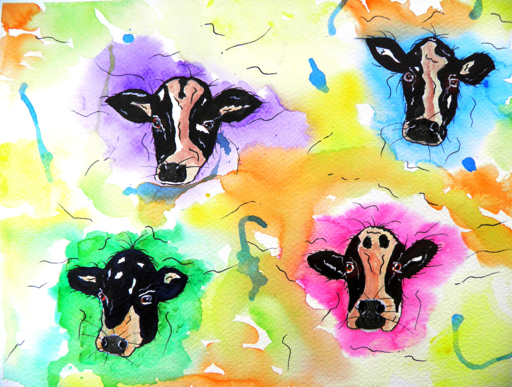 Moo cows - watercolour (framed)