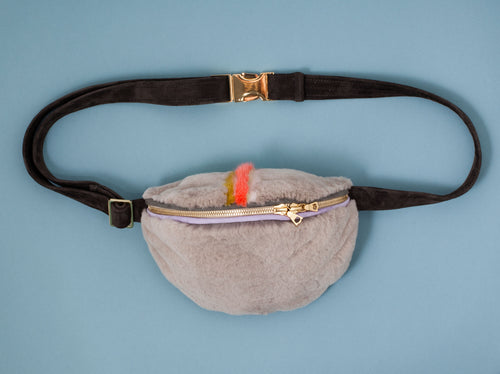 GREY MINK BUMBAG WITH A MOHAWK